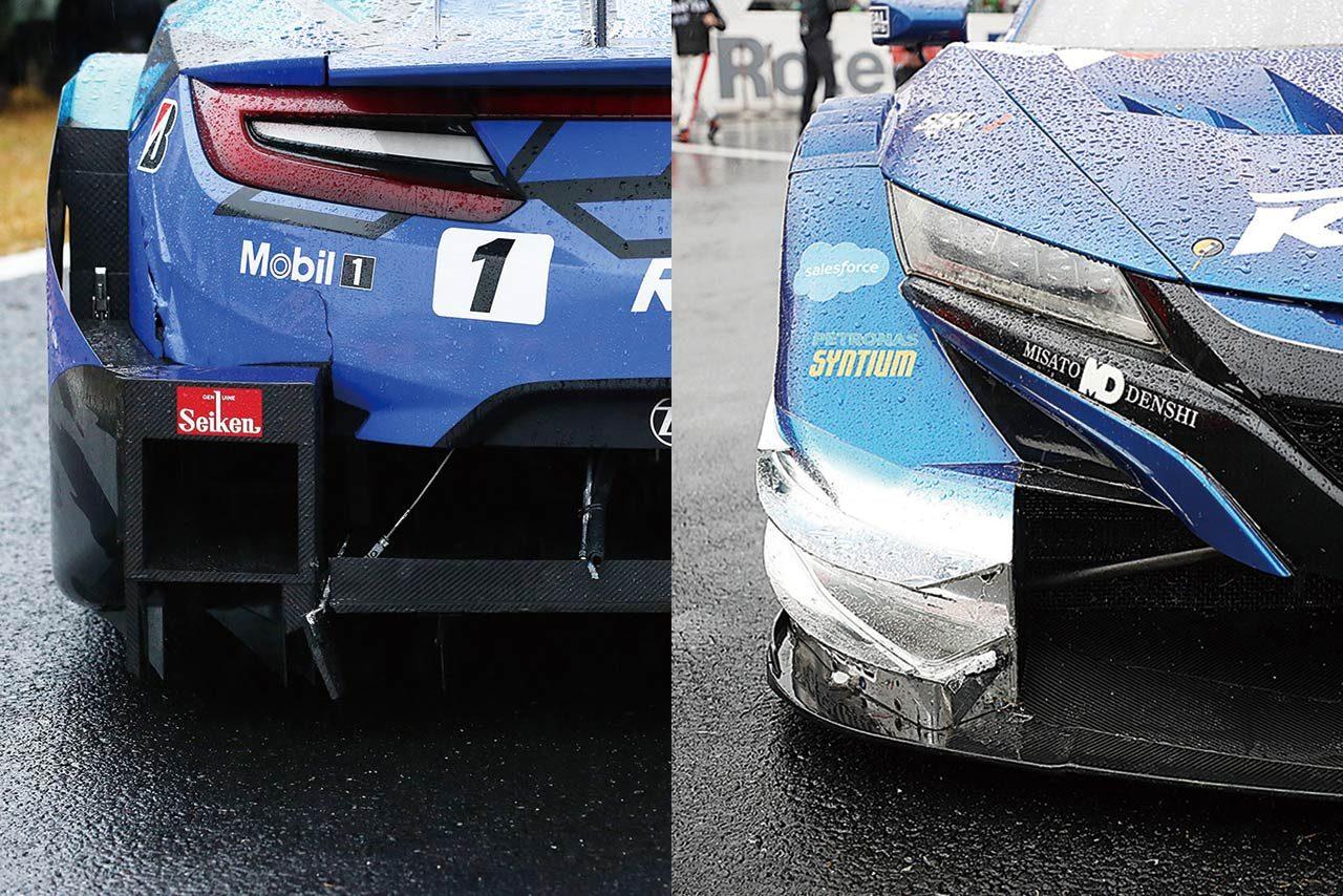 レース後に撮影した写真ではRAYBRIGの左リヤ(ディフューザー)とKEIHINの右フロント(カナード)に接触の痕跡が残っていた。RAYBRIGはバンパーにまで亀裂がおよぶ。目視の限りではダメージはそう大きくはないのだが……。