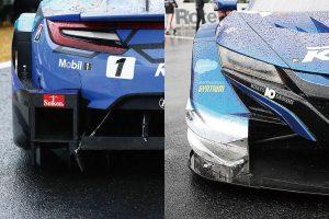 スーパーGT | レース後に撮影した写真ではRAYBRIGの左リヤ(ディフューザー)とKEIHINの右フロント(カナード)に接触の痕跡が残っていた。RAYBRIGはバンパーにまで亀裂がおよぶ。目視の限りではダメージはそ