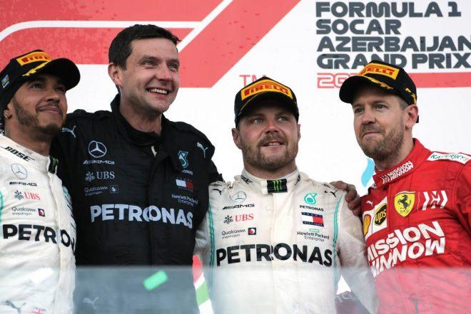 2019年F1第4戦アゼルバイジャンGP 優勝:バルテリ・ボッタス、2位:ルイス・ハミルトン、3位:セバスチャン・ベッテル