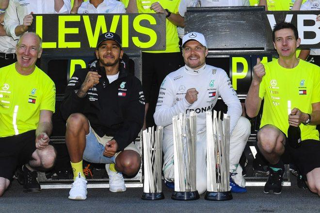 2019年F1第4戦アゼルバイジャンGP バルテリ・ボッタスとルイス・ハミルトン(メルセデス)が1−2を達成