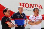 2019年F1第5戦スペインGP 左からホンダ田辺豊治F1テクニカルディレクター、トロロッソのフランツ・トスト代表、ホンダ山本雅史F1マネージングディレクター