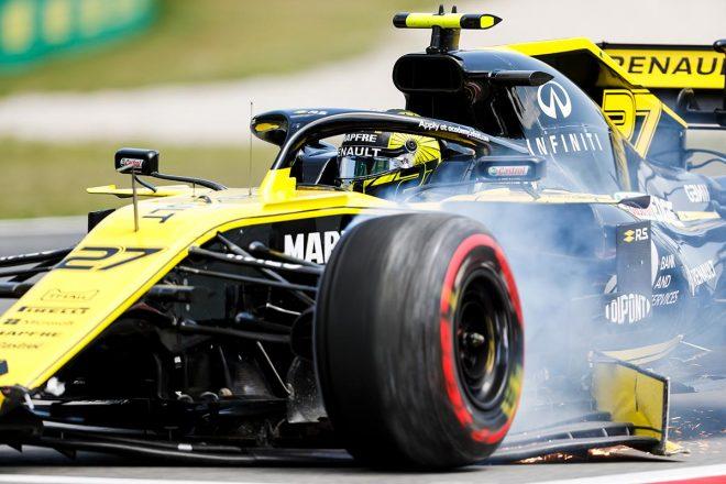 2019年F1第5戦スペインGP予選でフロントウイングを壊してしまったニコ・ヒュルケンベルグ