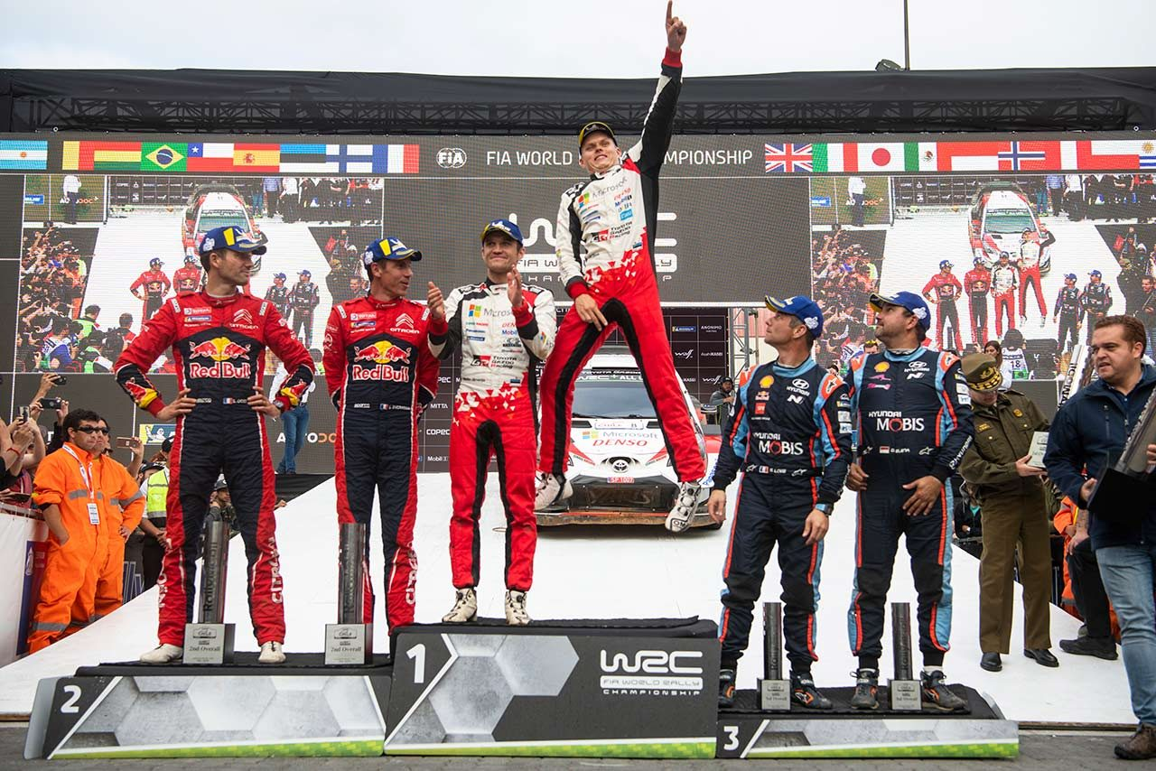 2019年のWRC第6戦チリ表彰台