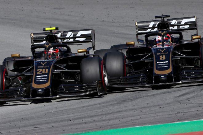 2019年F1第5戦スペインGP ロマン・グロージャンとケビン・マグヌッセン(ハース)のバトル