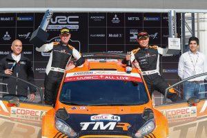 ラリー/WRC | WRC第6戦チリのセレモニーに登場した勝田貴元とコドライバーのダニエル・バリット