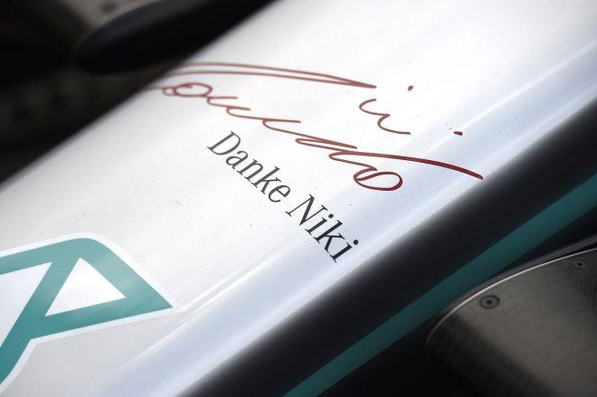2019年F1第6戦モナコGP メルセデスF1 W10にラウダ追悼のメッセージ