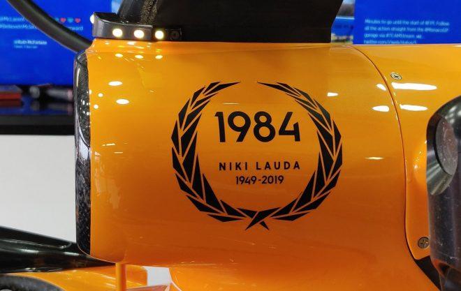 2019年F1第6戦モナコGP マクラーレンMCL34にラウダ追悼のメッセージ