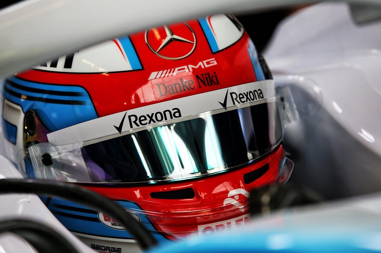 2019年F1第6戦モナコGP ジョージ・ラッセル(ウイリアムズ)のヘルメットにラウダ追悼のメッセージ