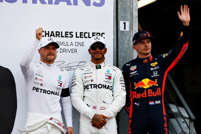 2019年F1第6戦モナコGP 予選トップ3のハミルトン、ボッタス、フェルスタッペン