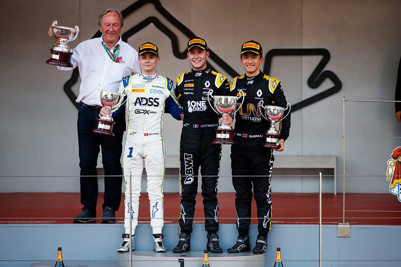 2019年FIA-F2第4戦モナコ アンソニー・フバート(BWTアーデン), ルイス・デルトラズ(カーリン), チョウ・グアンユー(ユニヴィルトゥオーシ)