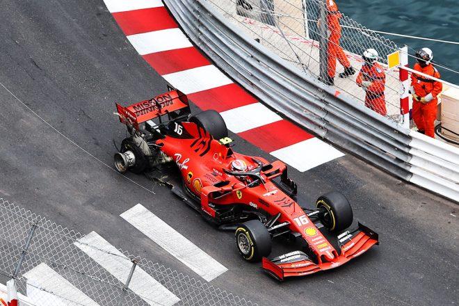 2019年F1第6戦モナコGP決勝、接触によりシャルル・ルクレールのタイヤがパンク