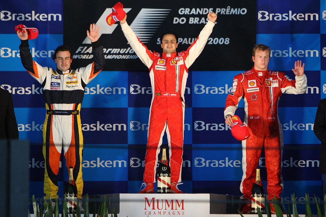 2008年F1最終戦ブラジルGP フェリペ・マッサ, フェルナンド・アロンソ, キミ・ライコネン