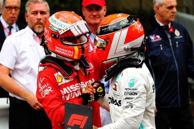 2019年F1第6戦モナコGP ラウダ追悼ヘルメットを使用したルイス・ハミルトン(メルセデス)とセバスチャン・ベッテル(フェラーリ)が揃って表彰台を獲得
