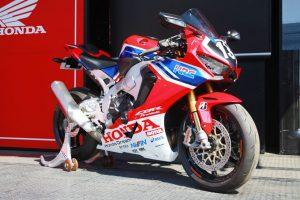 MotoGP | ホンダブースに展示されたTem HRCのカラーリングをまとったホンダCBR1000RR