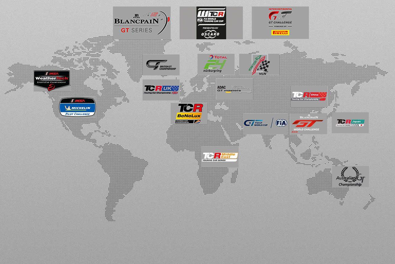 GT3、GT4、TCRを使うレースは世界中に存在。一部を取り上げても、この量だ