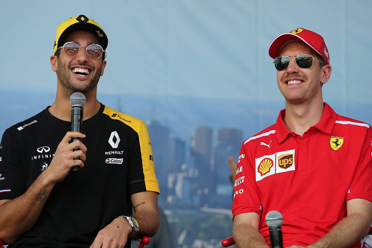 2019年F1開幕戦オーストラリアGP ダニエル・リカルド(ルノー), セバスチャン・ベッテル(フェラーリ)
