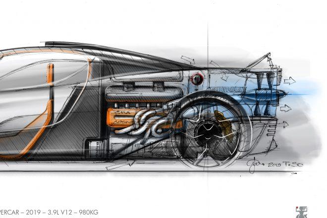 エアロダイナミクスの特徴はBT46Bゆずりのファンカーシステム。400mmのファンがフロア下のエアを引き抜くことでダウンフォースを得る
