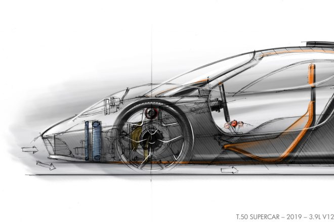 T.50のデザインイメージ。ドライバーの着座位置が極端に低いことが分かる