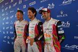 1号車レベリオンをドライブする(左から)アンドレ・ロッテラー、ブルーノ・セナ、ニール・ジャニ。マシンカラーリングに合わせてレーシングスーツもリデザインされている