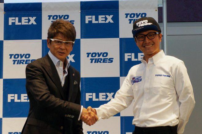 哀川翔、川畑真人『FLEX SHOW AIKAWA Racing with TOYO TIRES』参戦発表会