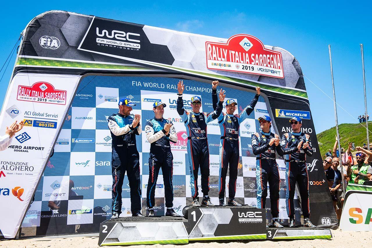 2019年のWRC第8戦イタリア 暫定表彰式