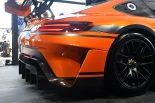 新型メルセデスAMG GT3のリヤビュー。これまでの造形とは大きく異なる。