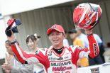 雨混じる難しいコンディション制しJ-GP2クラスでポール・トゥ・ウインを果たした名越哲平(MuSASHi RT HARC-PRO.)