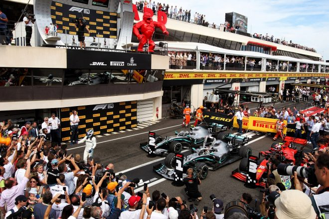 2019年F1第8戦フランスGP 決勝トップ3のハミルトン、ボッタス、ルクレール