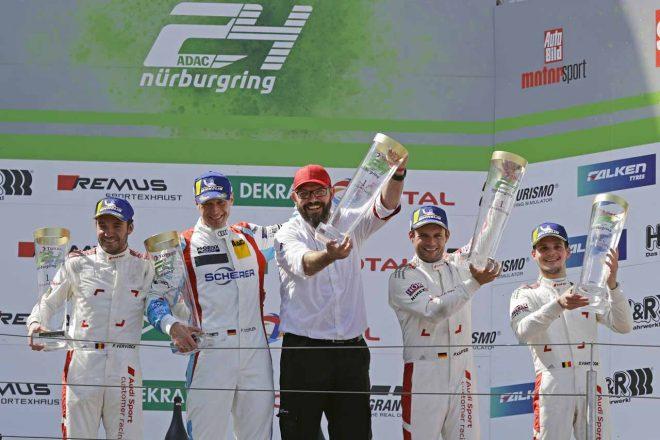 総合優勝を果たした4号車アウディスポーツ・チーム・フェニックスのピエール・カッファー/フランク・スティップラー/フレデリック・ベルビシュ/ドリス・ファントール組