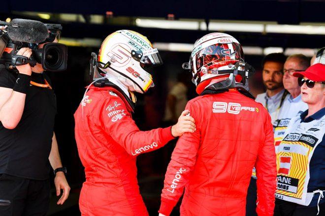 2019年F1第9戦オーストリアGP 2位でチェッカーを受けたシャルル・ルクレールと4位セバスチャン・ベッテル