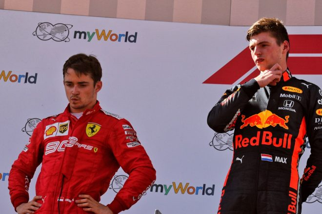 2019年F1第9戦オーストリアGP 2位のシャルル・ルクレール(フェラーリ)とウイナーのマックス・フェルスタッペン(レッドブル・ホンダ)