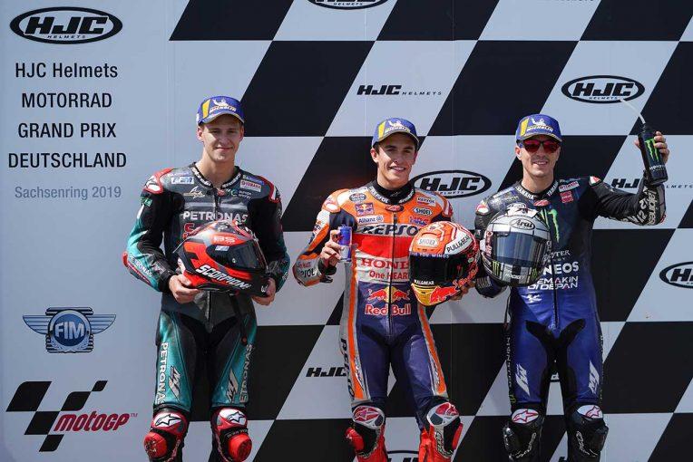MotoGP | マルケス、3戦ぶりのポール獲得も「ヤマハライダーは速い」と警戒/MotoGP第9戦ドイツGP 予選トップ3コメント