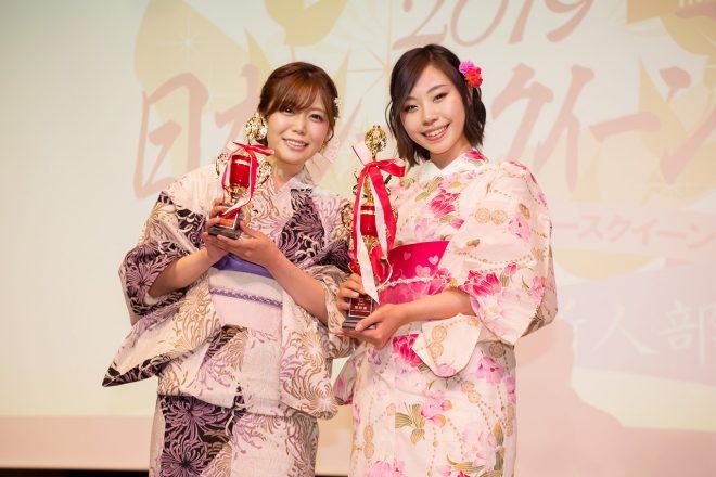 日本レースクイーン大賞2019新人部門の特別賞を受賞した水瀬琴音さん(左)と有栖未桜さん(右)