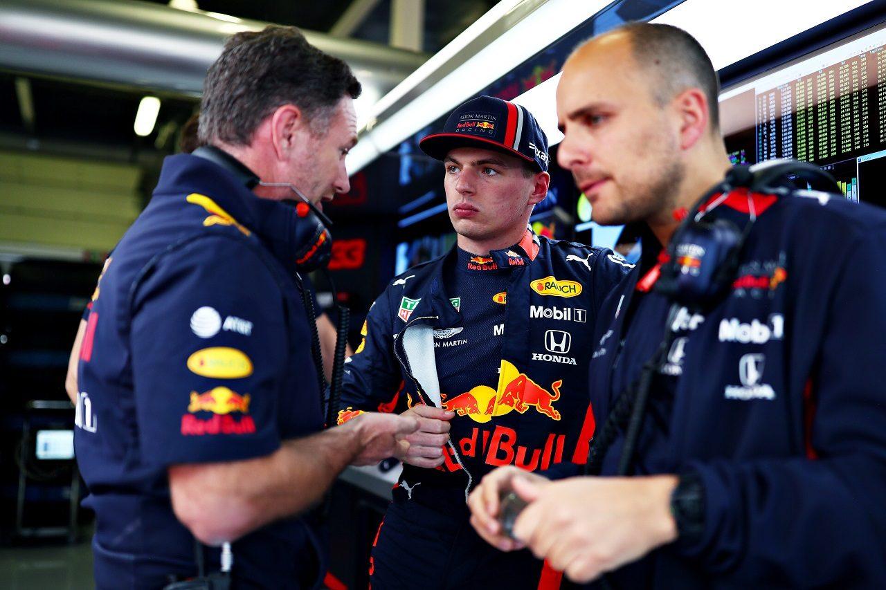 2019年F1第10戦イギリスGP金曜 マックス・フェルスタッペンとチーム代表クリスチャン・ホーナー(レッドブル・ホンダ)