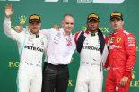 2019年F1第10戦イギリスGP決勝レース 優勝:ルイス・ハミルトン、2位:バルテリ・ボッタス、3位:シャルル・ルクレール
