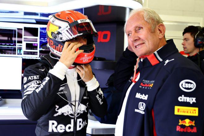 2019年F1第10戦イギリスGP日曜 ピエール・ガスリー(レッドブル・ホンダ)とモータースポーツコンサルタントのヘルムート・マルコ
