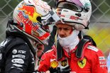 2019年F1第10戦イギリスGP 接触したマックス・フェルスタッペン(レッドブル・ホンダ)とセバスチャン・ベッテル(フェラーリ)が決勝後に会話
