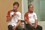 トークショーに登場したMuSASHi RT HARC-PRO. Hondaの水野涼(左)と本田重樹総監督(右)