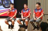 トークショーに登場したRed Bull Honda。右から桒田哲宏HRCレース運営室室長、清成龍一、高橋巧