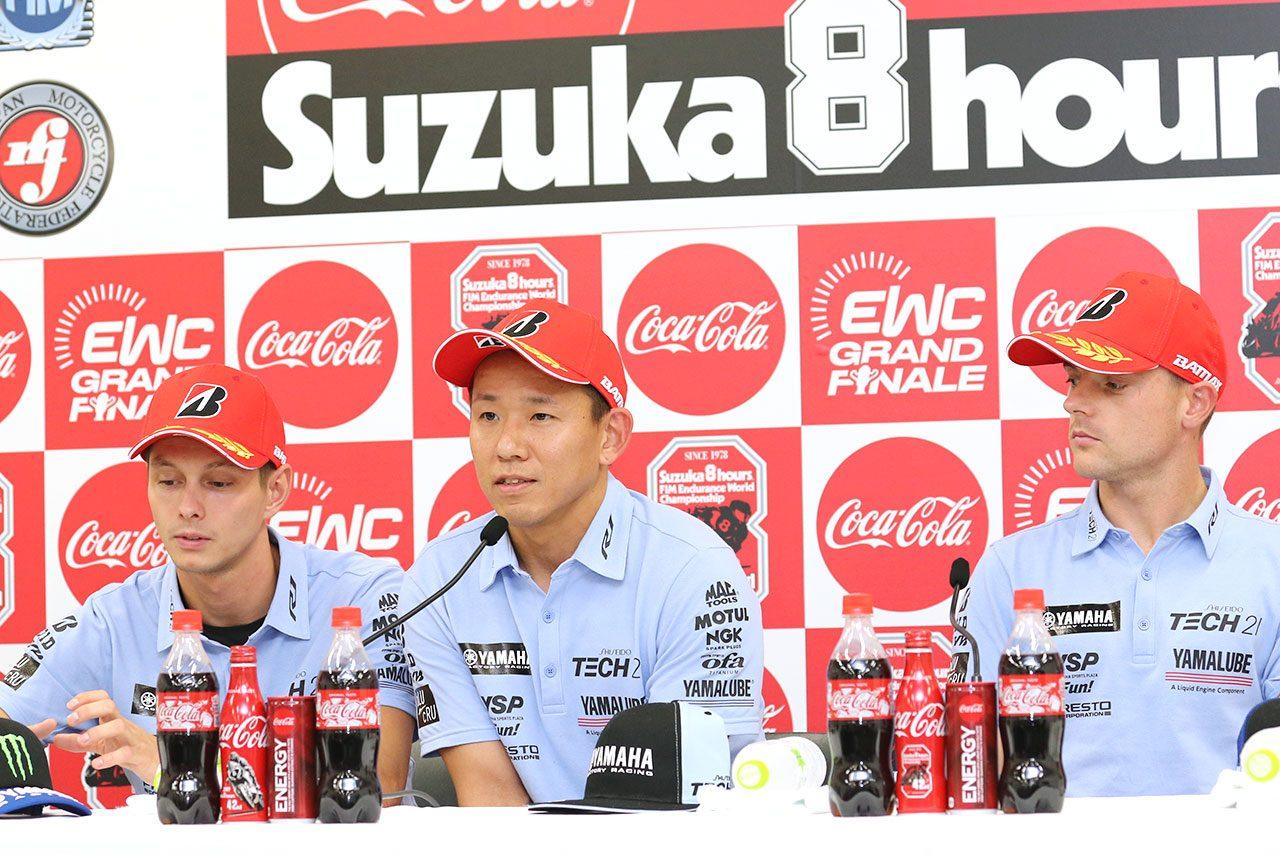 ヤマハ中須賀「昨日頑張ったからこのポジションにいられる」/鈴鹿8耐予選トップ3会見