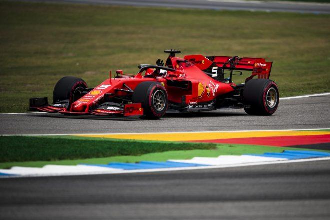 2019年F1第11戦ドイツGP ファンに手を振るセバスチャン・ベッテル(フェラーリ)