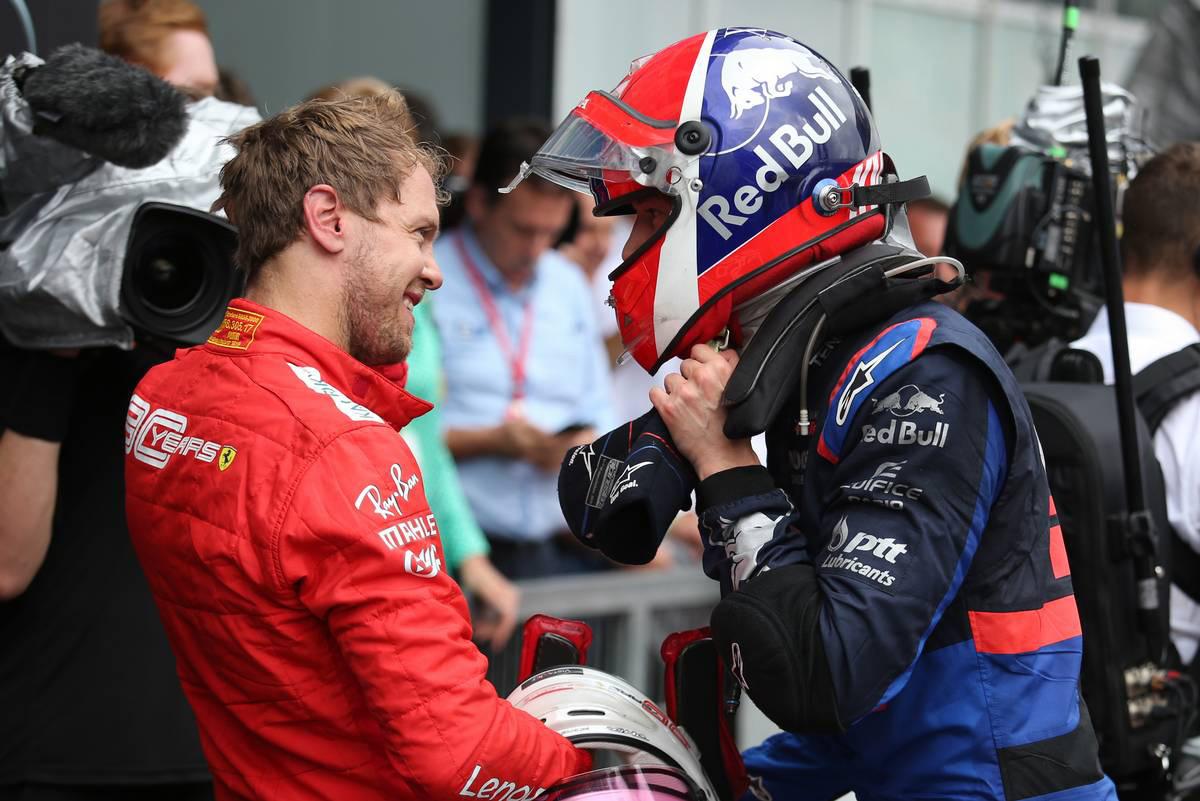 2019年F1第11戦ドイツGP セバスチャン・ベッテル(フェラーリ)、ダニール・クビアト(トロロッソ・ホンダ)