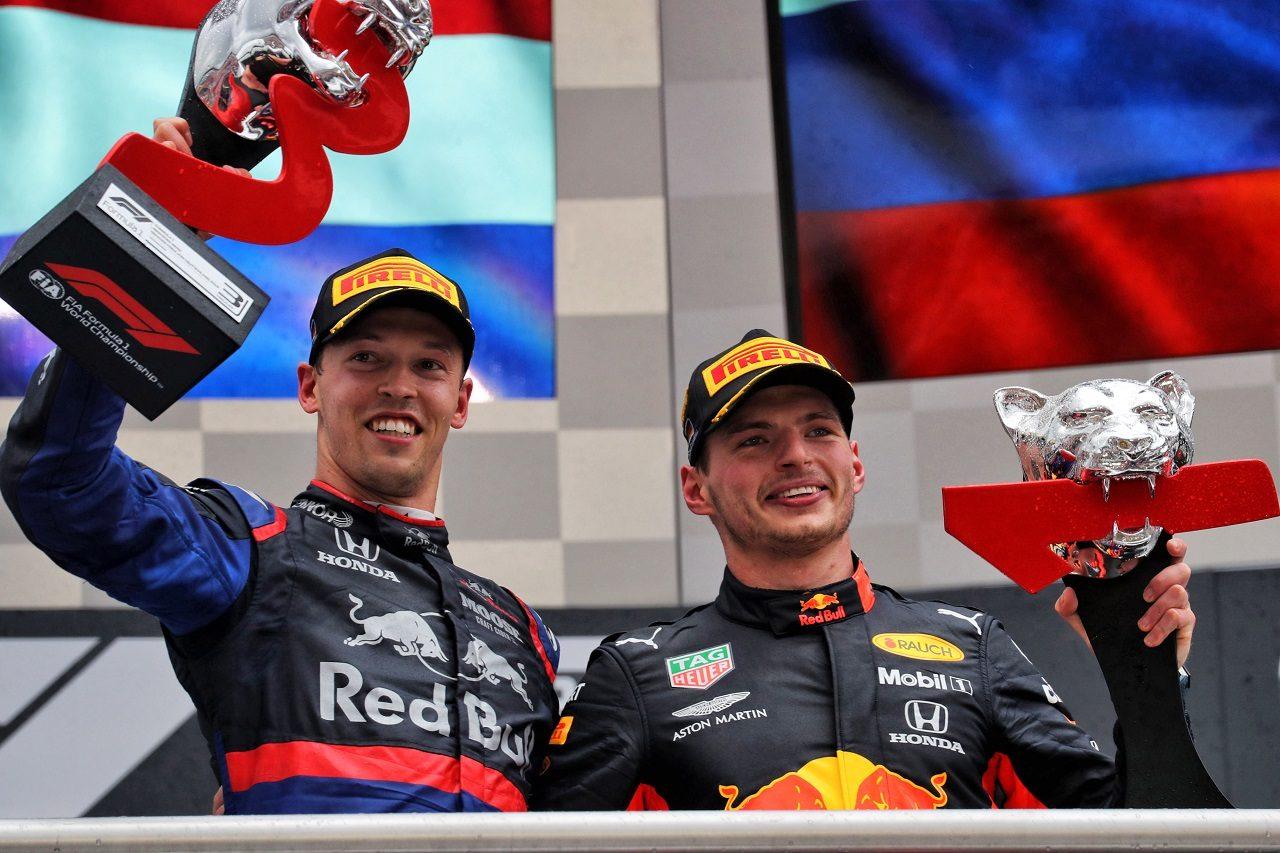 2019年F1第11戦ドイツGP マックス・フェルスタッペン(レッドブル・ホンダ)とダニール・クビアト(トロロッソ・ホンダ)