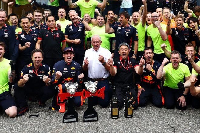 2019年F1第11戦ドイツGP日曜 マックス・フェルスタッペン(レッドブル・ホンダ)の優勝を祝うチーム