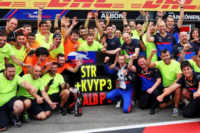 2019年F1第11戦ドイツGP ダニール・クビアト(トロロッソ・ホンダ)の3位を祝うチーム