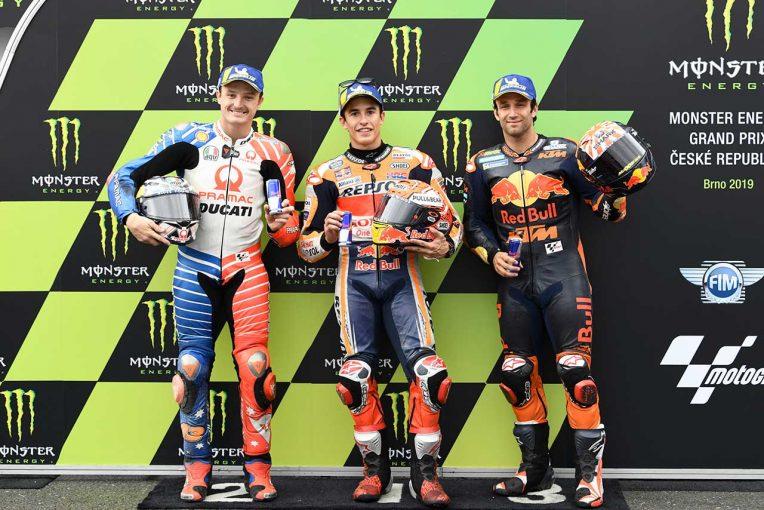 MotoGP | 雨のなかスリックタイヤで攻めたマルケス「リスクを冒しすぎたかも」/MotoGP第10戦チェコGP 予選トップ3コメント