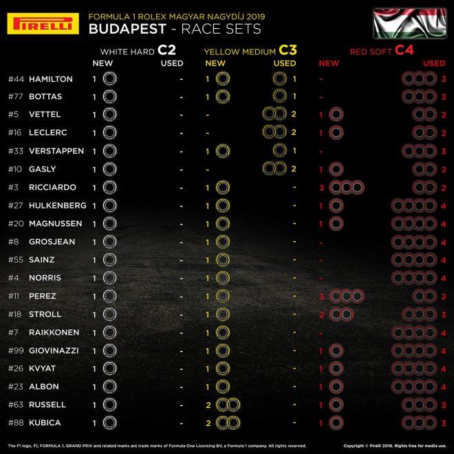 F1第12戦ハンガリーGP決勝レース、20人のドライバーの「持ちタイヤ」