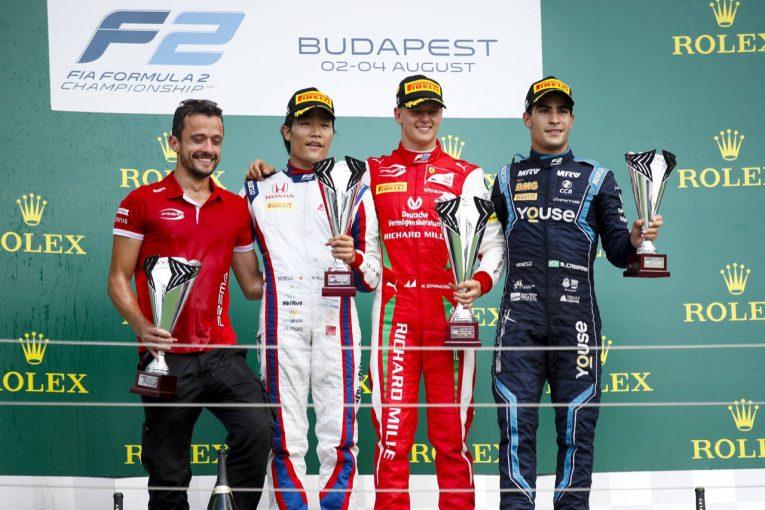海外レース他 | FIA-F2第8戦ハンガリー レース2:松下信治が2位表彰台獲得! 激戦を繰り広げたシューマッハーが初優勝