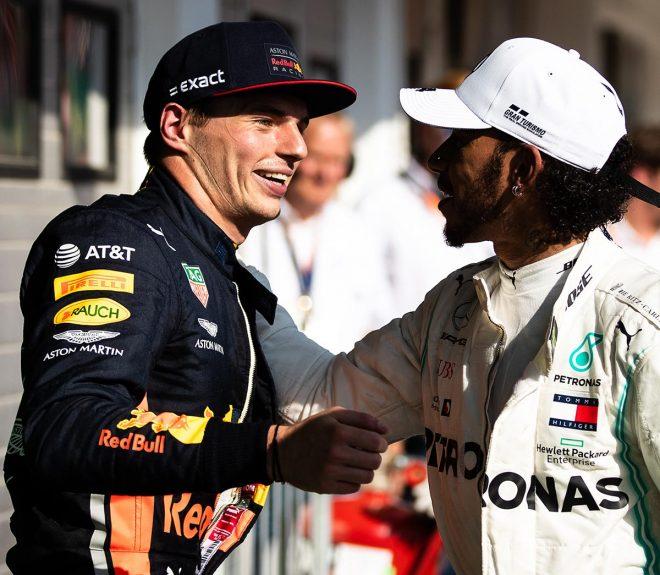 2019年F1第12戦ハンガリーGP:優勝したルイス・ハミルトンと2位のマックス・フェルスタッペン