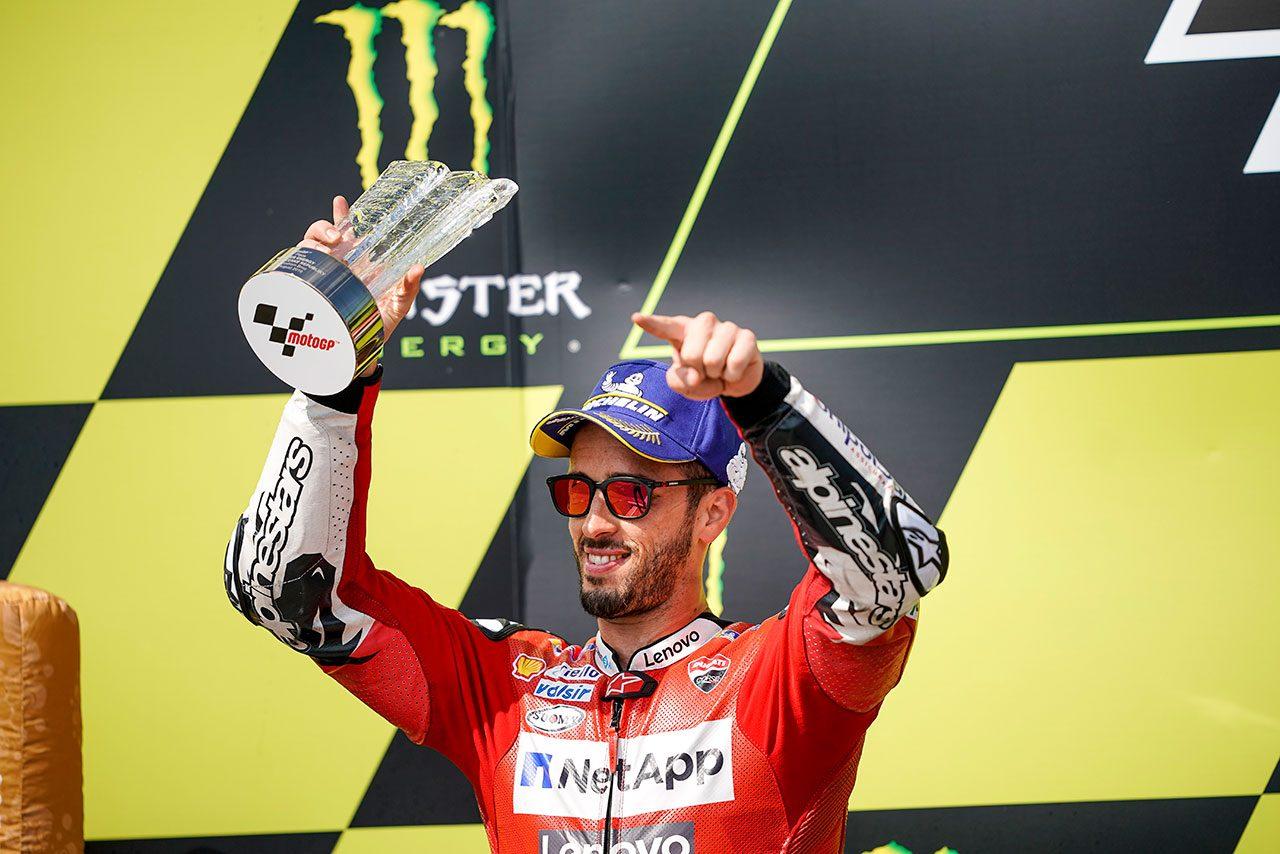 MotoGPチェコGP:4戦ぶり表彰台獲得のドヴィツィオーゾ「週末通じて速かったが勝つには十分ではなかった」